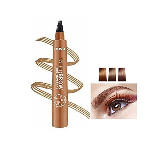 Tattoo Eyebrow Pen Wasserfester Tintengel-Farbton mit vier Spitzen, langanhaltendes wischfestes natürliches Haar wie definierte Brauen den ganzen Tag (Hellbraun)