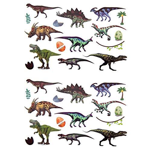 Oblique Unique® Kinder Dino Tattoos 32 Stück Farbenfroh Temporär Dinosaurier Tattoo zum Spielen Spielspass für Jungs zum Kindergeburtstag