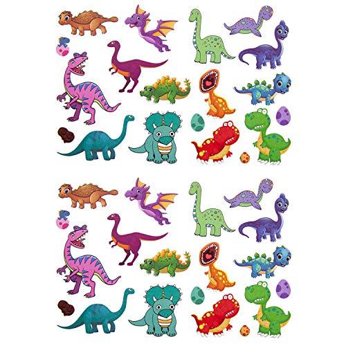 Oblique Unique® Kinder Dino Tattoos 38 Stück Farbenfroh Temporär Dinosaurier Tattoo zum Spielen Spielspass für Jungs zum Kindergeburtstag