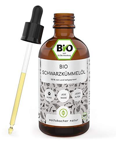 Wolfsbacher Natur - Bio Schwarzkümmelöl für Hunde, Floh und Zeckenschutz für Hunde, kaltgepresst aus kontrolliert biologischem Anbau, DE-ÖKO-060, 100ml Tropfflasche