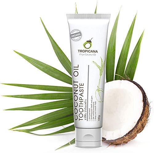 Tropicana Oil Zahncreme Naturkosmetik mit Bio Kokosöl 100g | Zahnaufhellung | Zahnpasta Ohne Fluorid&Aluminium Für Empfindliches Zahnfleisch | Vegan | Antibakteriell Fuoridfrei | Für Kinder&Erwachsene