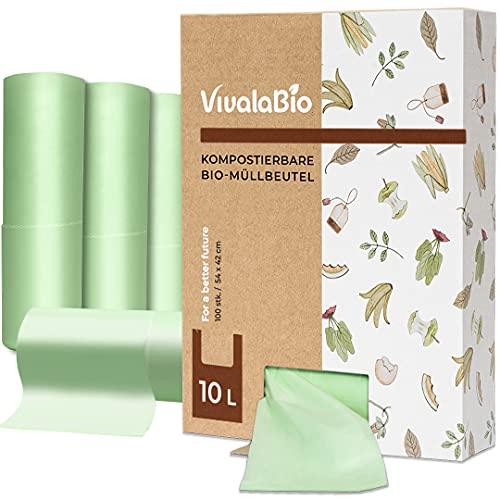 VivalaBio Bio Müllbeutel 10l mit Henkel 100 Stück 100{71a0f9dc0219e49735ed2967b1d7baedb81451333c6def29aef3b10fd3fec198} kompostierbar & biologisch abbaubar, Biomüllbeutel für Biomülleimer Küche, Kompost, Extra Dick