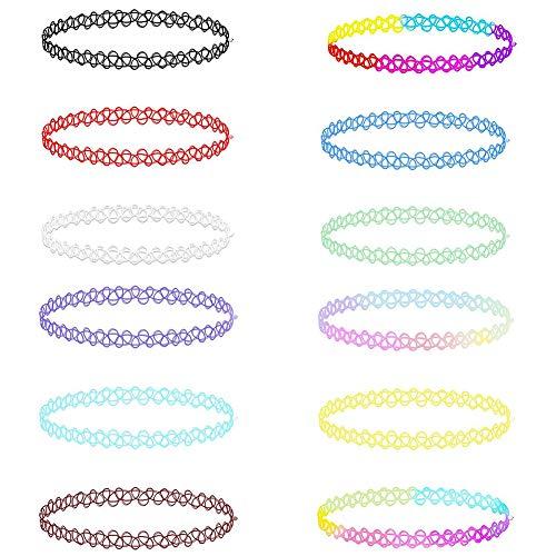 Soleebee 12 Stück Tattoo Choker Halskette Set Mode Stretch Gothische Elastische Halsband Schmuck-Sets Damen Halskette Schmuck für Frauen Mädchen (Bunte Tattoo Choker)
