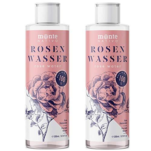 Reines Rosenwasser MonteNativo 2x200ml (400ml) - 100{3dd626679e6378f92a46fdfd2b1253c2f9f65eee81a202fa0552ed31e8387913} natürlich, echtes Gesichtswasser, Rein und Naturbelassen, naturreines Rosen-Hydrolat, doppelte Wasserdampfdestillation, Naturkosmetik, Rose Water