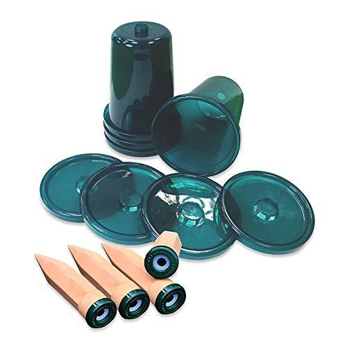 Bio Green Hydro Cup, 4er Set Tonkegel mit passenden Becheraufsätzen, 2.5 liters, Terracotta, Grün, 4