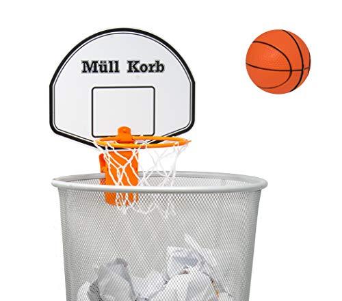 KrockaZone Mini Basketballkorb für den Mülleimer/Papierkorb mit kleinem Ball - Spaß fürs Zimmer/Büro/Zuhause