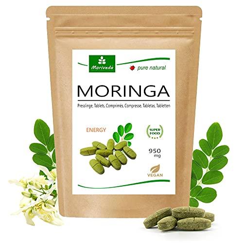Moringa Energy Tabs 950mg oder Moringa Kapseln 600mg – Oleifera, vegan, Qualitätsprodukt von MoriVeda (120 Presslinge)