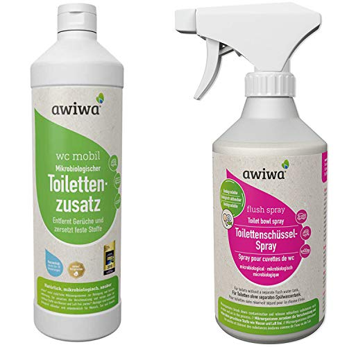 awiwa 2er Set Sanitärflüssigkeit wc mobil 1l + Flush Spray 500ml für die Camping Toilette (wc mobil (1l) + Flush Spray (500ml))