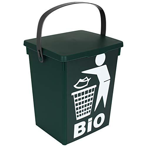 TW24 Bio Mülleimer grün 5L Küche Abfalleimer klein Tischmülleimer Komposteimer Biotonne Tischabfalleimer Biomülleimer