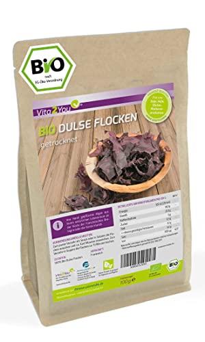 Bio Dulse Flocken | 100g | getrocknet | Lappentang | Ökologischer Anbau | Rotalgen im Zippbeutel | Premium Qualität