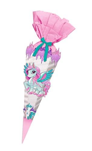 Ursus 9890001 Bastelset Baby Pegasus, Easy Line, 6 eckige Schultüte aus 3D Wellpappe, Bastelkrepp, Satinband und Stanzteile, alle Teile vorgestanzt, Höhe 41 cm, Durchmesser 15 cm, bunt