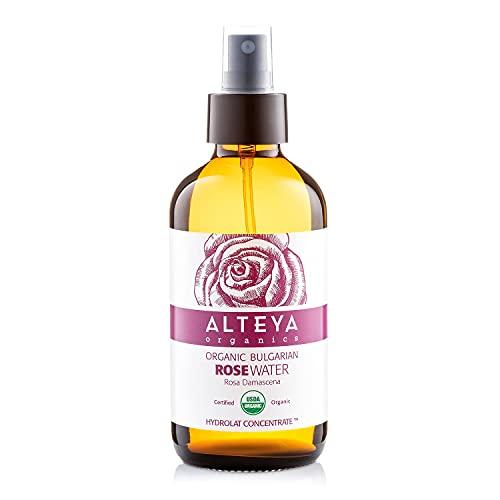 Alteya Bio Rosenwasser Spray in Glasflasche 240 ml- 100{1f7499b6858c5ce5f7350d6a957902d6350a64c015971e22b818de47750f2475} USDA Organic-zertifiziert Rein Natürlich Wasserdampfdestilliertes Blütenwasser aus Damaszener Rosen, Direktverkauf vom Alteya Organics