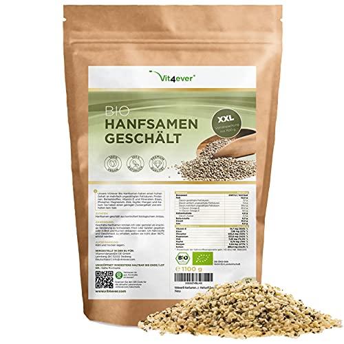 Vit4ever® Hanfsamen geschält - 1100 g (1,1 kg) - Laborgeprüft - Natürliche Protein Eiweißquelle - Herkunft Frankreich - Reich an Omega-3 Fettsäuren - 100{0738bb40b89a2cd42c251623073d261ea544e839930e41b8ba6bc33ec0a99b79} Hempseeds - Vegan - Superfood