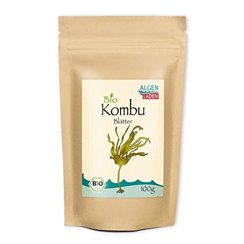 ALGENLADEN BIO Kombu Blätter - 100g | Grundlage für Dashi | Algen aus dem Atlantik | Rohkost | Vegan