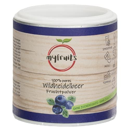 myfruits® Wildheidelbeerpulver - ohne Zusätze, zu 100{3c8df918d9a3183ef7c2192d23c14358d6f90618e1f25477663751d25256cc72} aus Heidelbeeren, Fruchtpulver für Smoothie, Shakes & Joghurt (70g)