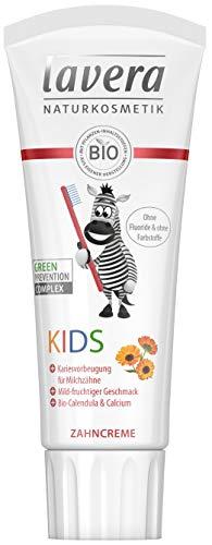 lavera Zahncreme Kids ∙ Ohne Fluoride & ohne Farbstoffe ∙ Bio-Calendula & Calcium ∙ Vegan Bio Pflanzenwirkstoffe Naturkosmetik Kinder Zahnpflege ∙ 75 ml ∙ 1er Pack