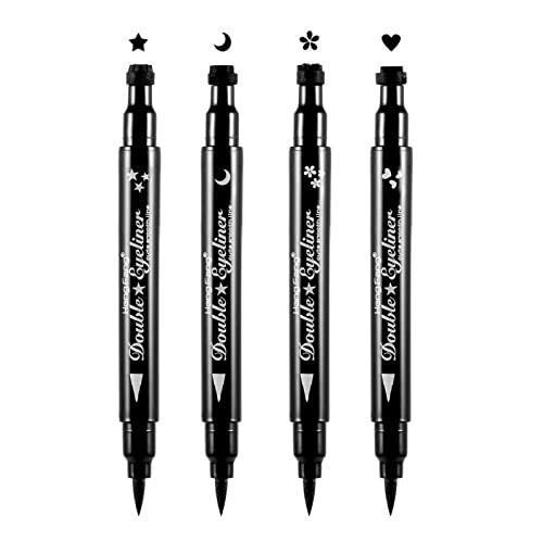 Pinkiou Eyeliner Stempel Stift Schwarz Wasserdicht Eyeliner Stift Doppelstern Herz Mond Blume Makeup Tool (4 in 1)
