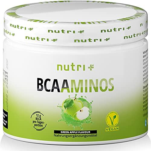 BCAA PULVER Green Apple - Aminosäuren Komplex hochdosiert - BCAAs Instant Powder Vegan - Aminosäure Supplement - Geschmack: Grüner Apfel 300g - hergestellt in Deutschland