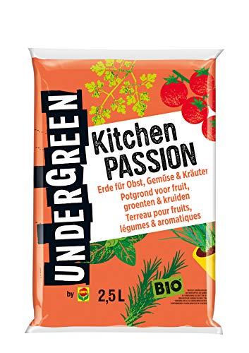 Undergreen Kitchen Passion, Erde für alle Obst- und Gemüsepflanzen sowie Kräuter, Bio, Kultursubstrat, 2,5 Liter, Braun