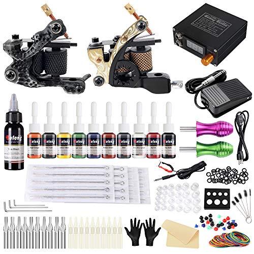 Solong Tattoo-Set 2 Tattoo Maschine 28 Tinten Netzteil Pedal Nadeln Griffe Tipps TK222