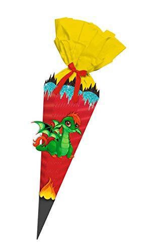 Ursus 9890002 Bastelset Baby Drache, Easy Line, 6 eckige Schultüte aus 3D Wellpappe, Bastelkrepp, Satinband und Stanzteile, alle Teile vorgestanzt, Höhe 41 cm, Durchmesser 15 cm, bunt