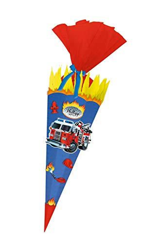 Ursus 9870009 Bastelset Feuerwehr, Easy Line, 6 eckige Schultüte aus 3D Wellpappe, 2 Rollen Bastelkrepp, Satinband und Stanzteile, alle Teile vorgestanzt, Höhe 68 cm, Durchmesser 20 cm