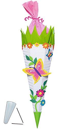 Unbekannt BASTELSET Schultüte -  Schmetterling Blumen  - 85 cm - mit / ohne Kunststoff Spitze - Zuckertüte zum selber Basteln - 6 eckig Blumenranke Mädchen