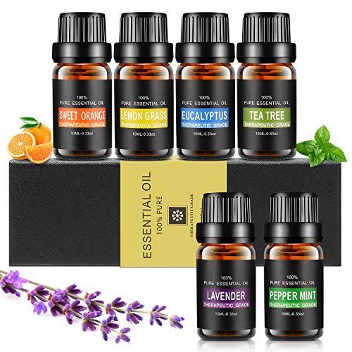Ätherische Öle Set, Aiemok 6 x 10ml Aromatherapie Duftöl Set, 100{1180cd684ca5eaab9805d949c3a9198d39e440fe076100cecd67053a41c9550f} Bio Naturrein Aroma-Öl für, 6 Different Aromas - Lavendel, Pfefferminze, Zitronengras, Süßorange, Eukalyptus, Teebaums (6 Packungen)