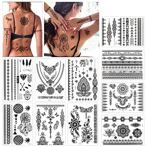 Konsait Tattoo Aufkleber schwarzer Spitze Mehndi temporäre Tätowierungs haut wasserfest Temporäre Tattoo Body Art für Frauen (10 Blatt)