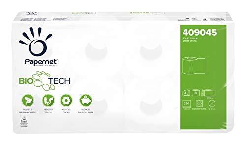 Papernet 409045 Bio Tech 3-lagig selbstauflösendes Toilettenpapier für Camping,Boot Größe 8 Rollen