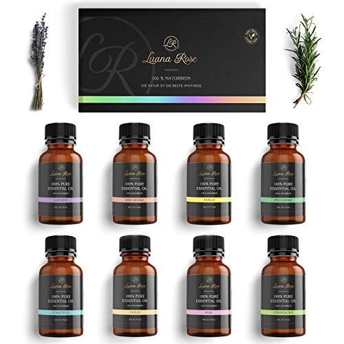 Luana Rose Ätherische Öle Set - 100{1da21bee8771a781164decf436ddceeb1e47b1d73c2e41e6601ed99fdedbd5b7} Vegan & Naturrein - 6 x 10 ml Lufterfrischer Öl Aroma - Duftöle für Diffuser & Aromaöl für Aromatherapie - Vanille Orange Lavendel Eucalyptus Pfefferminze Zitrone