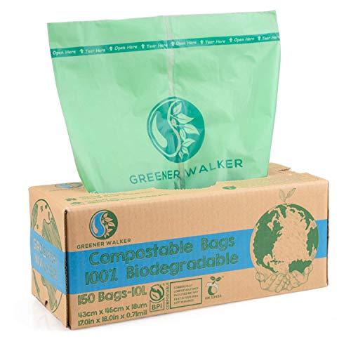 Greener Walker 100{871acf0c9dbbb5cd9bfdaea5a15322e4523851441d65127ad7de0e21281ef747} Kompostierbare biologisch abbaubar 10L Müllbeutel-150 Müllsäcke