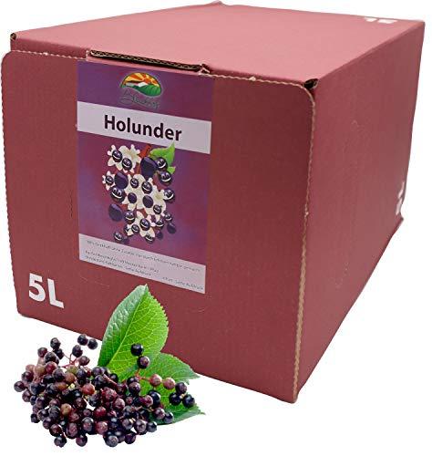 Bleichhof Holundersaft - 100{ffc85d2bb5943aa5e6d6a981f1586a9eaa4f2fd6e2d5cfa6c72953df22ebf955} Direktsaft, vegan, OHNE Zuckerzusatz, Bag-in-Box mit Zapfsystem (1x 5l Saftbox)