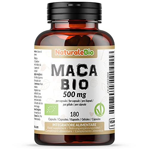 Maca Kapseln Bio (180 kapseln) 500mg   100{40cd077faef244f47767f49f8aa55282b80b4af68ae4e31874629a79ecaf153f} Gelatiniert, Natürlich und Rein, hergestellt in Peru aus Bio Maca Wurzel   Superfood reich an Aminosäuren, Ballaststoffen, Vitaminen und Mineralien