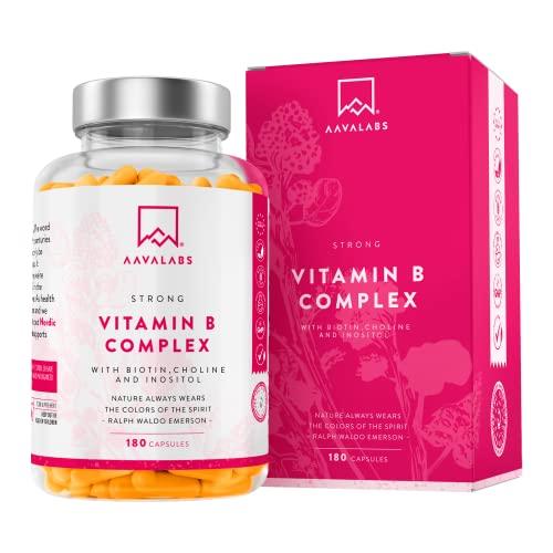 Vitamin B Komplex Hochdosiert - 6 Monate Vorrat (180 Kapseln) - enthält 8 essentielle B Vitamine inkl. B12 B1 B6 B7 mit Biotin und Folsäure - 100{cfd1febc717c6941ff0f289904d5ee0233f2a53d5cdbdcca6a810513830e2d02} vegan - getestet durch unabhängige Drittlabore