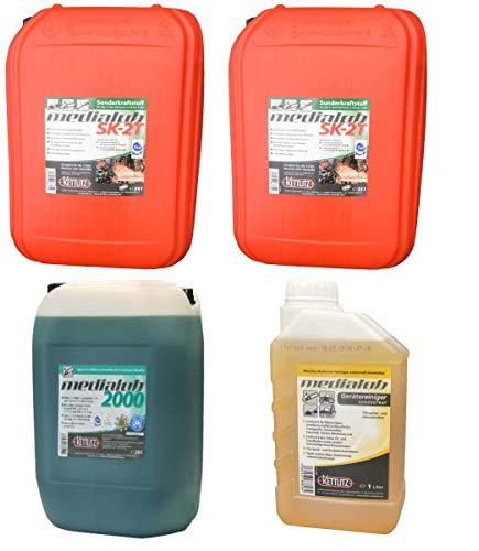 KETTLITZ Forst to GO Profi, 2 X 25 Liter Medialub SK-2T Sonderkraftstoff Alkylatbenzin 2 Takt, 20 Liter Medialub 2000 Bio Kettenöl-Sägekettenöl +1 L Gerätereiniger/Forst- Agrar Reiniger