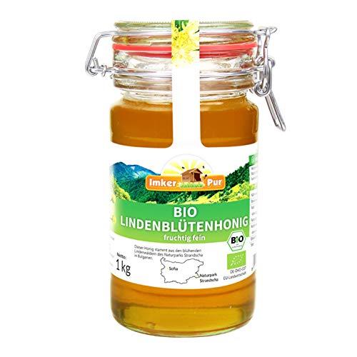 Bio-Lindenblüten-Honig von ImkerPur, 1 kg, im wiederverw. Vorratsglas, naturbelassen, fein-fruchtig, mit einer erfrischenden Zitronen-Note (Bio, 1 kg)