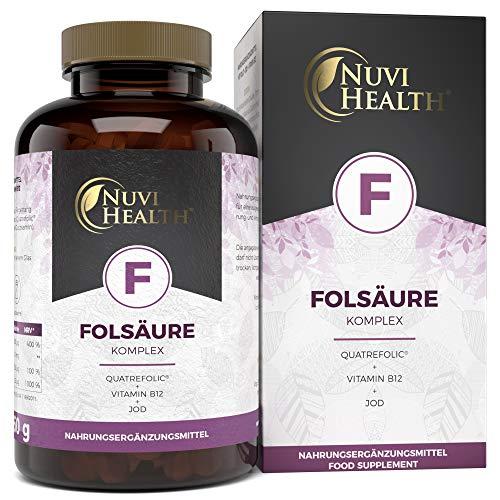 Nuvi Health® Folsäure - 800 μg Folat pro Tablette - 240 Stück (8 Monatsvorrat) - Premium: Quatrefolic® - Mit 5-MTHF dem höchst bioverfügbarem Vitamin B9 - Laborgeprüft - Vegan - Hochdosiert