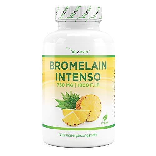 Vit4ever® Bromelain Intenso - 750 mg (1800 F.I.P) - 120 magensaftresistente Kapseln - Laborgeprüfte Qualität - Natürliches Verdauungsenzym aus Ananas-Extrakt - Vegan - Hochdosiert