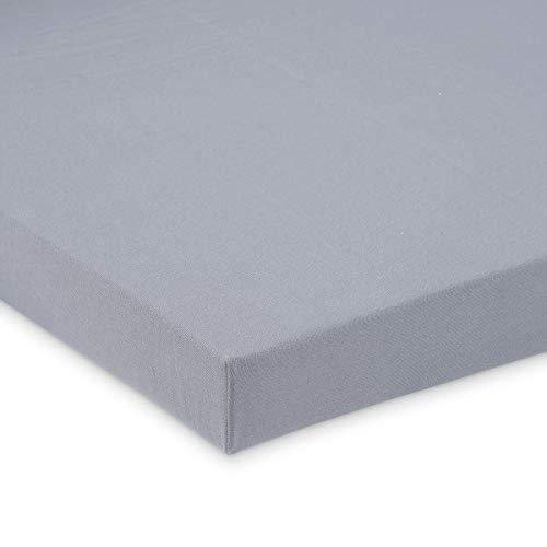 FabiMax 4287 Bio Jersey Spannbettlaken für Laufgitter, 100x100 cm, grau, grau