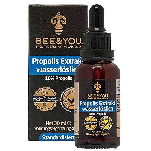 Bee&You Propolis Extrakt Tinktur Wasserlöslich 10{e3f9f283af17656283c16ad3f5def96351a7079a1cc4e37c63b323f473b2b47a} (ohne Alkohol, Standardisiert auf 10{e3f9f283af17656283c16ad3f5def96351a7079a1cc4e37c63b323f473b2b47a}, Fairer handel, Keine Zusatzstoffe)