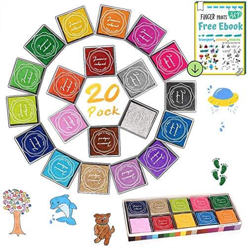 Stempelkissen Set, DazSpirit Fingerabdruck Stempelkissen Ungiftig Abwaschbar Stamp Pad mit 4 Blätter Fingerabdruck Stempelbuch für Papier Handwerk Stoff, Scrapbook, Kinder Geburtstags (20 Pack)
