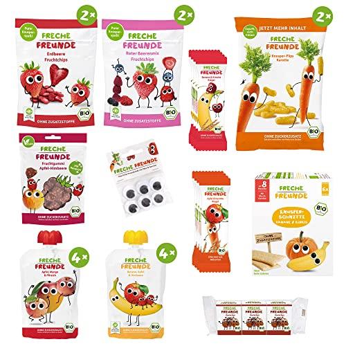 Freche Freunde Snack-Paket, Bio Kindersnacks mit Obst & Gemüse (ohne Zuckerzusatz, ohne Zusatzstoffe) für Kinder & Babys ab 1 Jahr