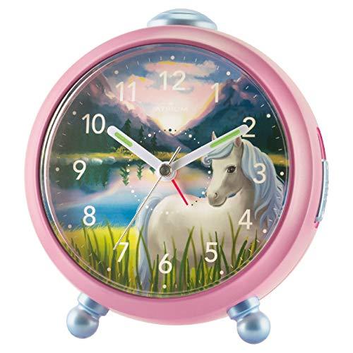 ATRIUM Kinderwecker Siabelle Mädchen Pferd ohne Ticken Snooze Licht analog Quarz rosa A932-17