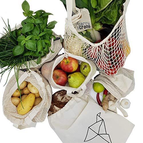 CarryTheCrane Wiederverwendbare Obst- und Gemüsebeutel aus Bio Baumwolle (GOTS) - Hochwertige Einkaufsnetze im 6-er Set inkl. Brotbeutel und Shopper (6er Baumwolle)