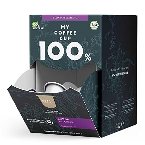 Lungo Bellissimo MEGA BOX - 100 BIO Kaffeekapseln von My-CoffeeCup | Kompatibel mit Nespresso®*-Maschinen | 100{d107ab8a8dbc1b122da59ef30e98d2bd2cfd353037a8ed4de55002a98784e50e} kompostierbare Kapseln ohne Alu