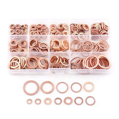 Hililand 280 Stück Kupferdichtringe Kupfer Flache Scheibe Unterlegscheiben Flache Dichtring Sortiment Kit mit Box passend für Schrauben Schrauben Verbindungselemente (12 Größen)
