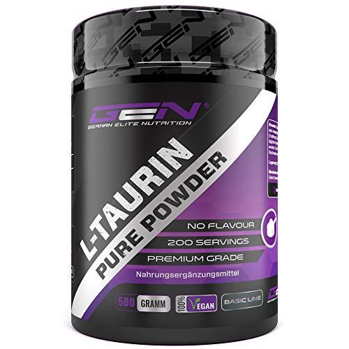 Taurin Pulver - 500 g - Optimale Löslichkeit - Vegan - Rein & ohne Zusätze - Premium L-Taurin Aminosäure - German Elite Nutrition