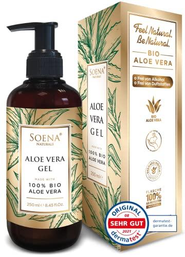 Aloe Vera Gel mit 100{c6ae6b850b7c971ff07cc850a73e045749f7205bf6ed3bf76068cf2f32369187} Bio Aloe Vera | NATURKOSMETIK | Ohne Alkohol & Ohne Duftsoffe | Tierversuchsfrei - Feuchtigkeitspflege von Soena® - After Sun - 250 ml - Aus Saft hergestellt - Made in Germany