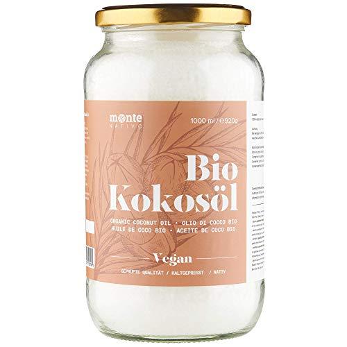 MonteNativo Bio Kokosöl - Bio Kokosfett, Bio Kokosnussöl, Premium, Nativ und Naturrein, 1. Kaltpressung, Rohkostqualität - zum Kochen, Braten und Backen, für Haare und Haut (1 x 1000ml Schraubglas)